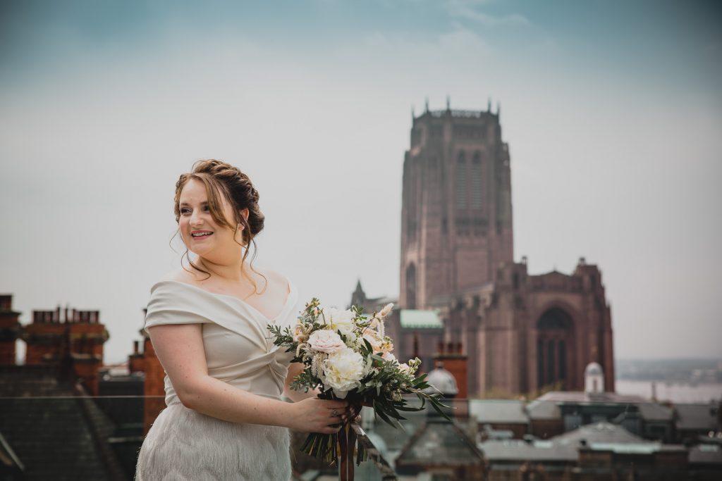 bride on roof terrace of hope street hotel